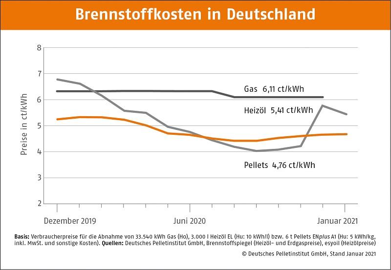 Brennstoffkosten in Deutschland Januar 2021