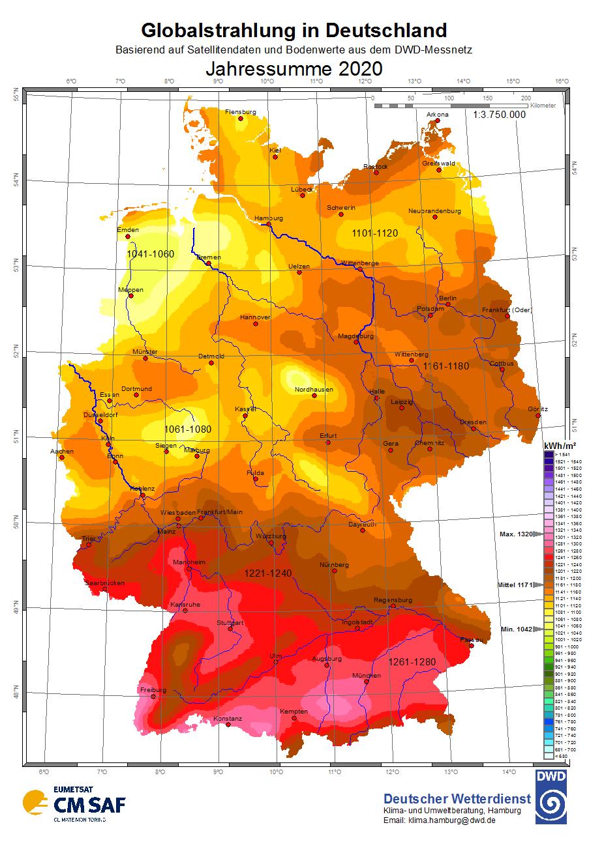 Globalstrahlung in Deutschland