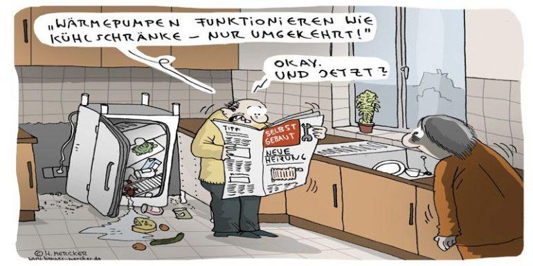 Comic Wärmepumpe und Kühlschrank